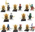 2016 nuevo 16 unids decool minifig cole jay kai zane golden ninja figuras bloques de construcción de juguetes compatible con legoinglys