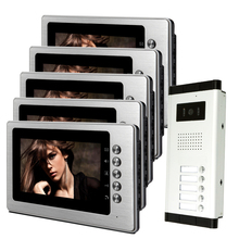 FREE SHIPPING New 7″ Color Video Intercom Door Phone System With 5 Monitors + 1 Outdoor Camera for 5 Family Apartment In Stock