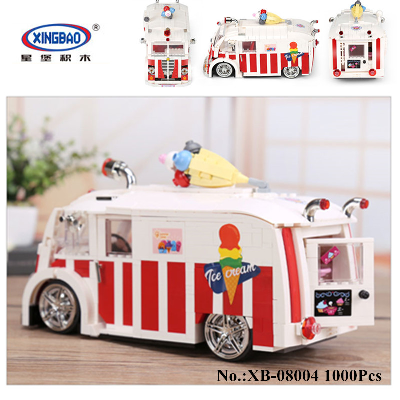IN STOCK Xingbao 08004 Genuine 1000Pcs Technic Series The Ice Cream Car Set Building Blocks Bricks Children Educational Toys sueway 100% 08004