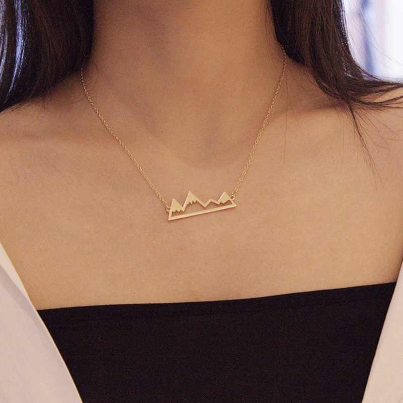 Gold/Silver Color Minimalist Mountain Top Pendant Snowy Mountain Necklace Hiking Outdoor Jewelry Mountains Climbing Gifts