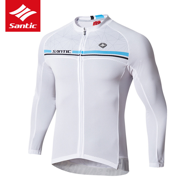 Santic Cycling Jersey 100% Polyester Breathable Long Full Sleeve Quick Dry Downhill DH MTB Road Bike Jersey Maillot Ciclismo Men  2017 mavic maillot ciclismo zebra pattern men personality long sleeve cycling breathable bike bicycle clothes polyester s 6xl