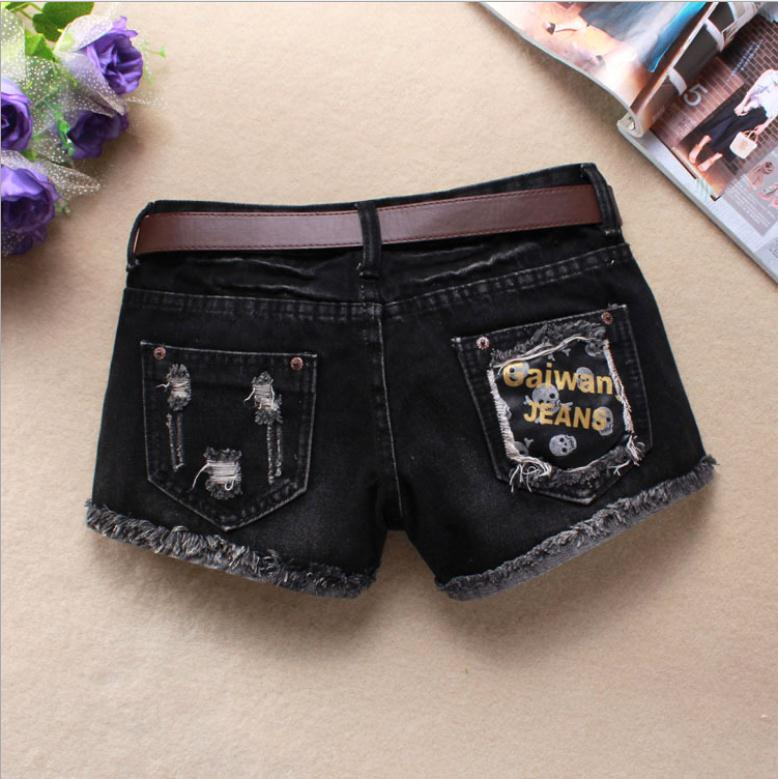 New Womens Skull Printing Summer Spring Autumn Denim Shorts Black Large Size Washed Female Ripped Jeans Short Without Belt J2739