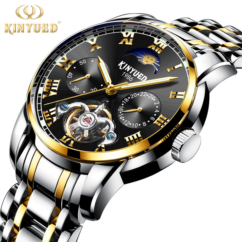 KINYUED Business Calendar Skeleton Watch Men Top Brand Tourbillon Automatic Mechanical Watches Waterproof Dress Reloj Hombre kinyued automatic watch men sapphire dial business mechanical self winding watches moon phase calendar reloj hombre with box