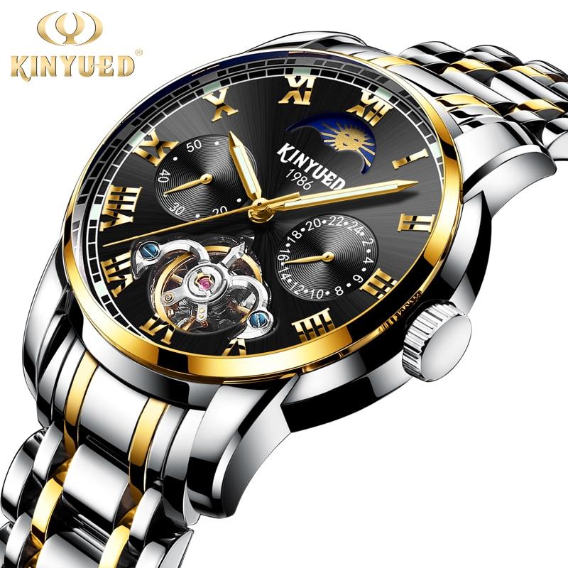 все цены на KINYUED Business Calendar Skeleton Watch Men Top Brand Tourbillon Automatic Mechanical Watches Waterproof Dress Reloj Hombre