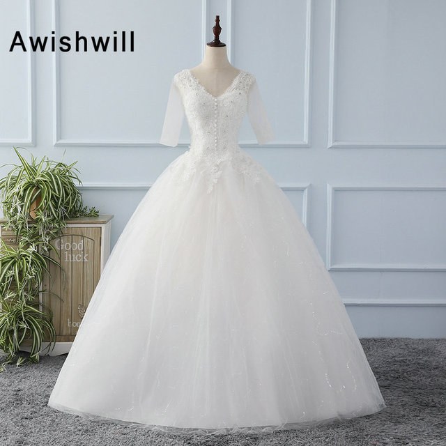 Princess Beatiful Puffy Ball Gown Wedding Dress With 1/2 Sleeves ...