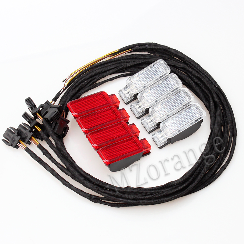 2017 auto pièces ensemble complet 4 pièces LED Pied Nid Lampe 4 pièces Porte Voyant kit POUR Audi A3 A4 A5 A6 A7 A8 Q3 Q5 TT