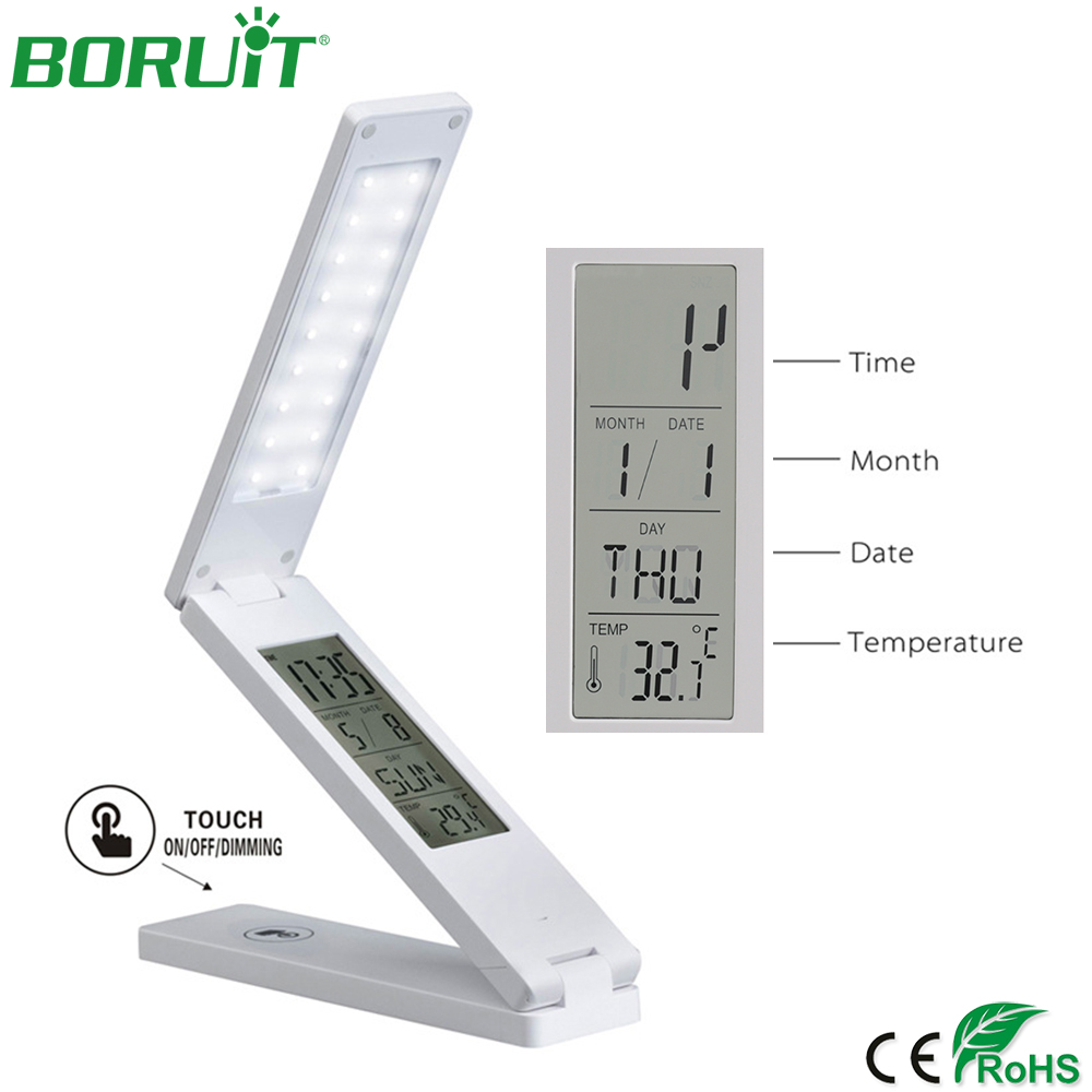 BORUiT Folding LED Desk Lamp Dimmable Eye Protection Reading Lamp USB Rechargeable Table Light with Alarm Clock Calendar Gifts with lcd display flexible leather led table lamp eye protection creative with alarm clock and calendar desk lamp