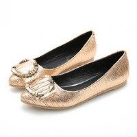Fashion Pointed Toe Women Flat Single Shoes Large Sizes 35 43 Ladies Slip On Lazy Flat Loafers Golden Silver Black Leisure Shoe