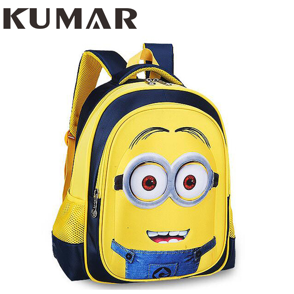Minions Children's Backpack Children Primary Students Bag Boys Animation Cartoon School Bags For Boys Girls Mochila Escolar ekuizai fashion children school bags students nylon children backpack school bag boys girls mochila escolar infantil customized
