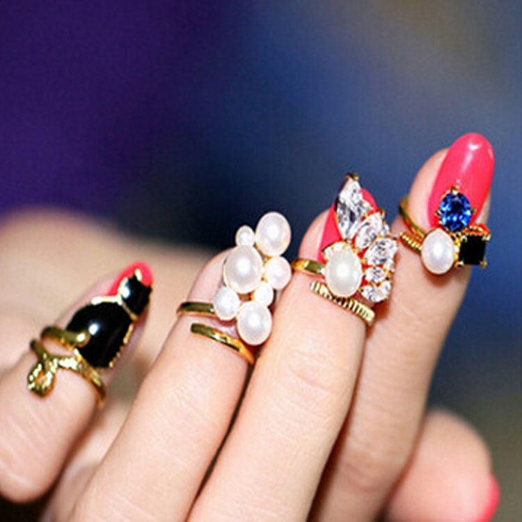 4pcs/set Jewel Cat Pearl Nail Rings Women Art Knuckle Ring