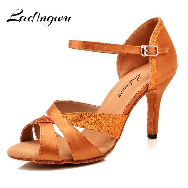 3b4400bd26 Ladingwu zapatos de baile Zapatos Mujer Latina Salsa de satén y brillo de  zapatos de baile