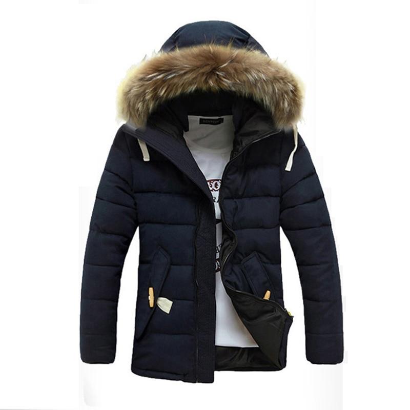 ФОТО Men parka 2016 Fashion Winter Jacket Warm Casual Fur Collar Down Coats Winter Hooded Men Outwear Parkas Plus Size M-3XL