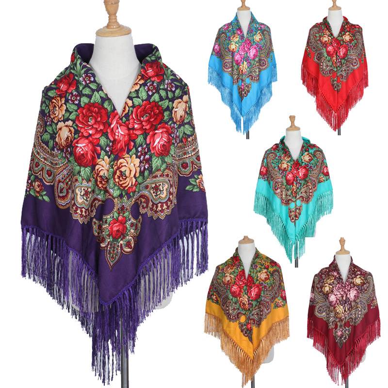 Marca rusa de moda para mujer, bufanda cuadrada de gran tamaño, bufanda estampada con borla larga, otoño invierno, mantón Floural Pashmina, venta CALIENTE