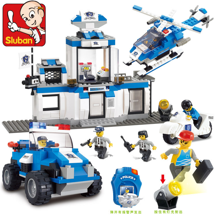 Sluban New City SWAT Emergency Center Building Blocks set Bricks Construction Enlighten Toys For Children Gift  compatible DIY lepin 02012 city deepwater exploration vessel 60095 building blocks policeman toys children compatible with lego gift kid sets