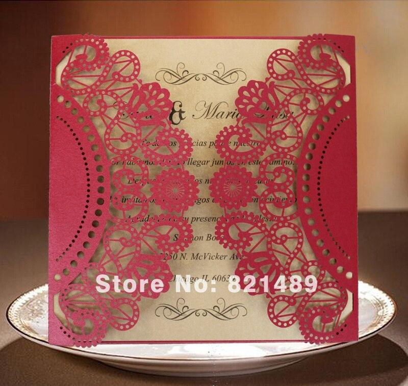 Rote Hochzeitseinladungskarten, lasergeschnittene Hochzeitseinladung - Partyartikel und Dekoration