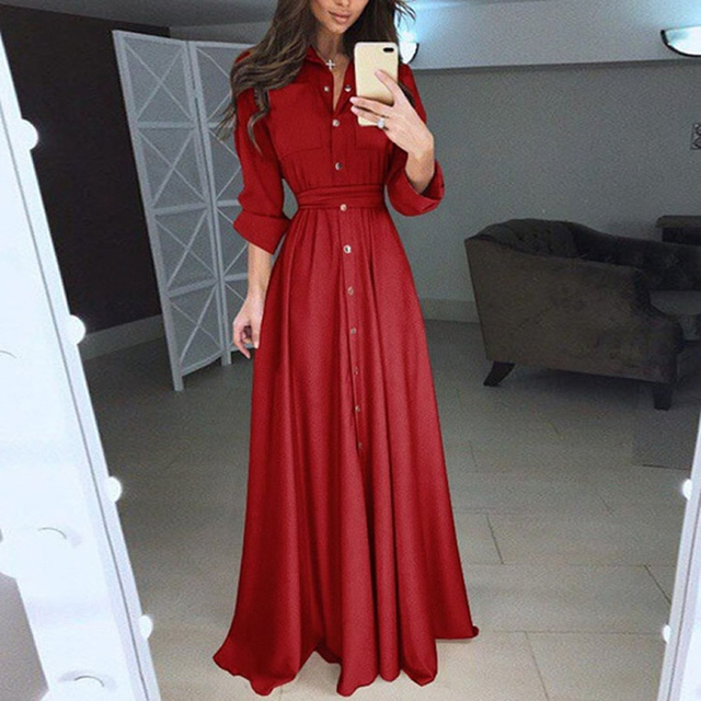 c40f2c8b01a Fashion Long Shirt Dress Plus Size Long Sleeves High Waist Belted Maxi Dress  Autumn Winter Vintage Retro Party Vestidos 4xl 5xl