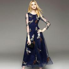 Высокое качество, модные взлетно-посадочной полосы Макси платье женская с длинным рукавом благородный роскошный феникс вышивка длинное платье вечернее платье w1626