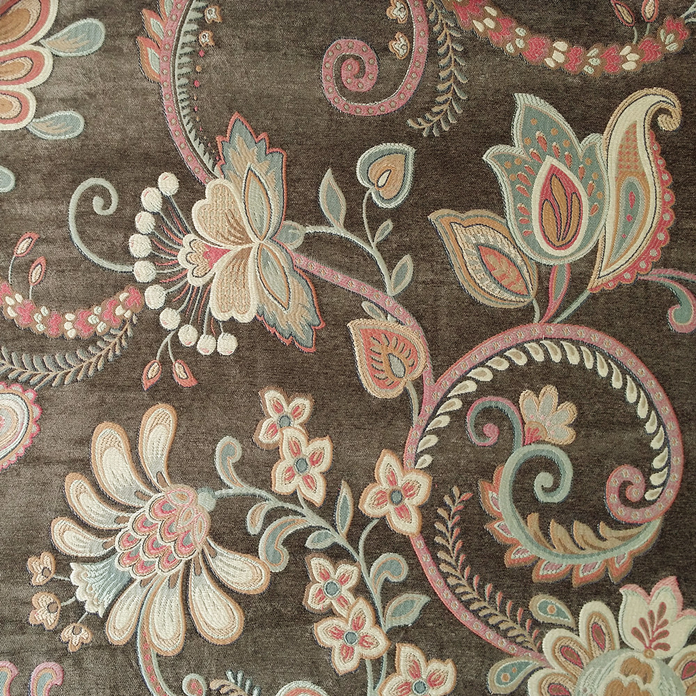 Couch Upholstery Fabric: 2017 Luxurious Sofa Hevay Brown Big Floral Chenile Curtain
