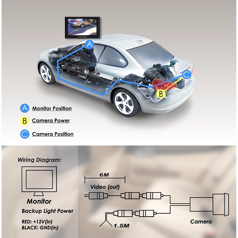 8led Ccd Waterproof Vehicle Camera Universal Hd Car Rear View Back Up For Wiring Diagrams E Ace Full 1080p Dvr Auto 43 Inch Touch Rearview Mirror Digital