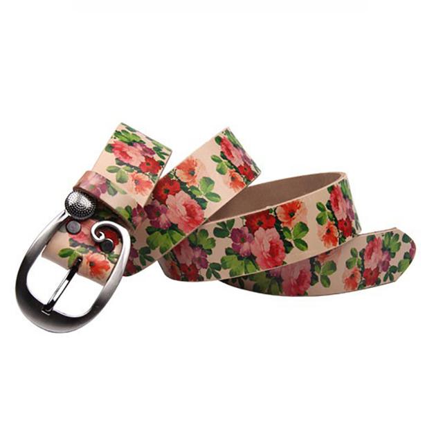 Diseñadores de Lujo de La Flor Femenina Correa de Cuero Genuino de la Marca Vestido de Flores para Las Mujeres de Alta Calidad de piel de Vaca para Los Pantalones Vaqueros