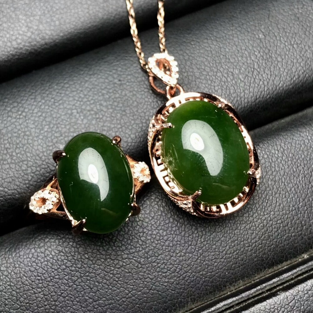 KJJEAXCMY Boutique jewels 925 pure silver inlaid natural and Tian jade jade female pendant pendant ring 2 sets of gold. - 5