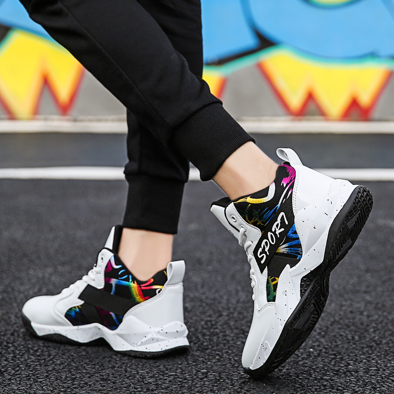 Big Size New Male Basketball Sneakers Man Sport Shoes 2019 High Top white Men Sneakers Basketball Zapatillas Hombre Deportiva
