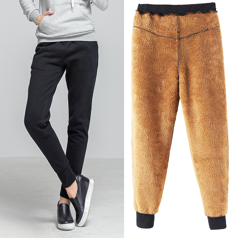 Autumn    Winter Women Trousers Thicken Loose Casual Plus Size Skinny Fleece High Waist  Harem Pants 100kg
