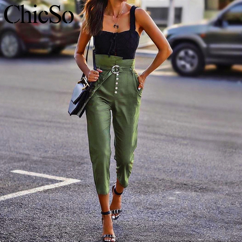 MissyChilli Skinny high waist women   pants     capris   Female streetwear long green casual   pants   Autumn winter elegant black   pants