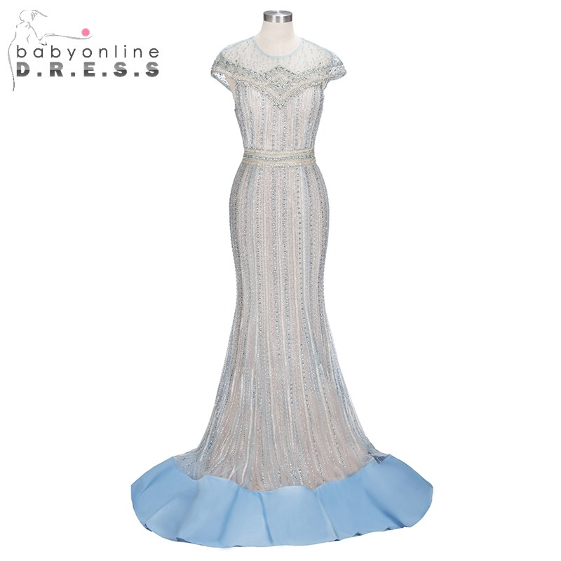 Luxurious O Neck Cap Sleeve Prom Dresses Robe De Soiree Long Tulle Heavy Beaded Crystal Mermaid Elegant Party Formal Dress