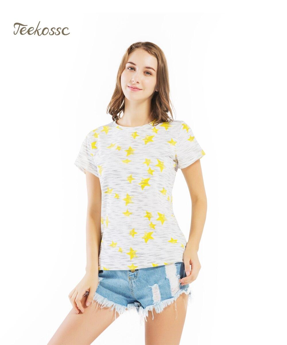 New Brand Yellow Star Women 2018 Summer Tops Tees Womens T Shirt Cotton Short Sleeve Cute T-Shirts Tshirts Shirt Tee Clothing XL