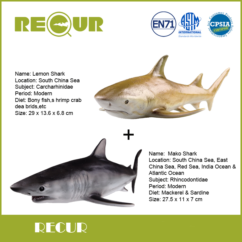 2 Pcs/Lot Recur Lemon Shark+Mako Shark Marine life Model High Simulation PVC Toy Hand Painted Action Figures Soft Animal Toys