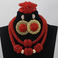 2017 Latest Red African Statement Costume Jewelry Set Indian Bridal Jewelry Set Nigerian Wedding Bride Beads Free Shipping QW161