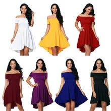 Womens Plus Size Solid Color Sexy Off The Shoulder Evening Party  Dress Short Sleeve High Waist Pleated Low Irregular C