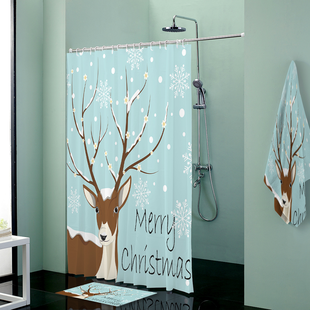 Deer Christmas Custom Shower Curtains Set Towels Shower Curtain ...