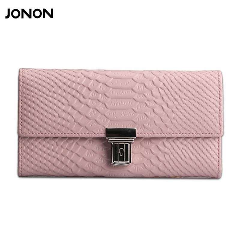 Snake Pattern Genuine Leather Women Long Zipper Wallet Purse Clutch Coins Holder 6 cards holder Woman Purses Wallets