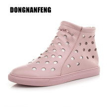 DONGNANFENG Women Mother Female Ladies Shoes Boots Cow Genuine Leather PU Round Hollow Summer Cool Zipper Size 35-40 ZMR-51009(China)