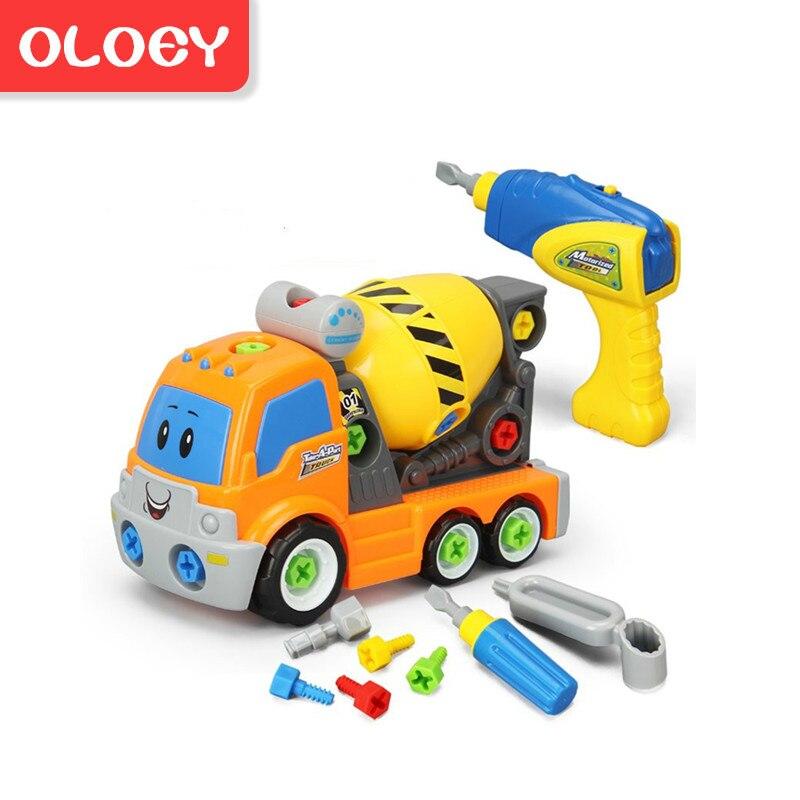 Diy Demontage Montage Speelgoed Voor Kinderen Ingenieur Vrachtwagen Auto Helicopter Trein Educatief Blokken Speelgoed Schroevendraaier Moer # Car005