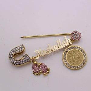 Image 5 - Turkse boze oog Koran vier Qul suras Mashallah rvs broche moslim islam baby pin