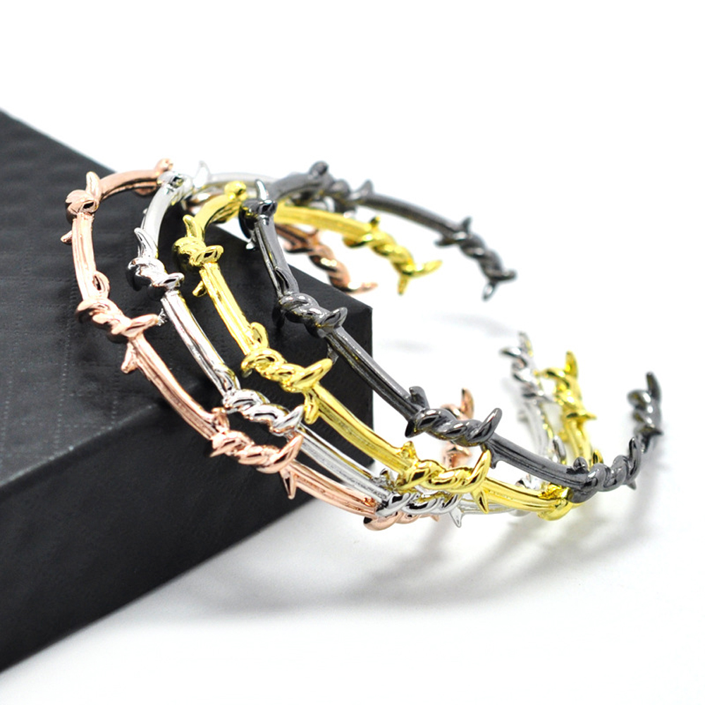 Unique Design Brass Steel Twist Thorns Barbed Bracelet Wire Men Bangle Open Cuff Pulsera Jewelry Bracelet bracelet
