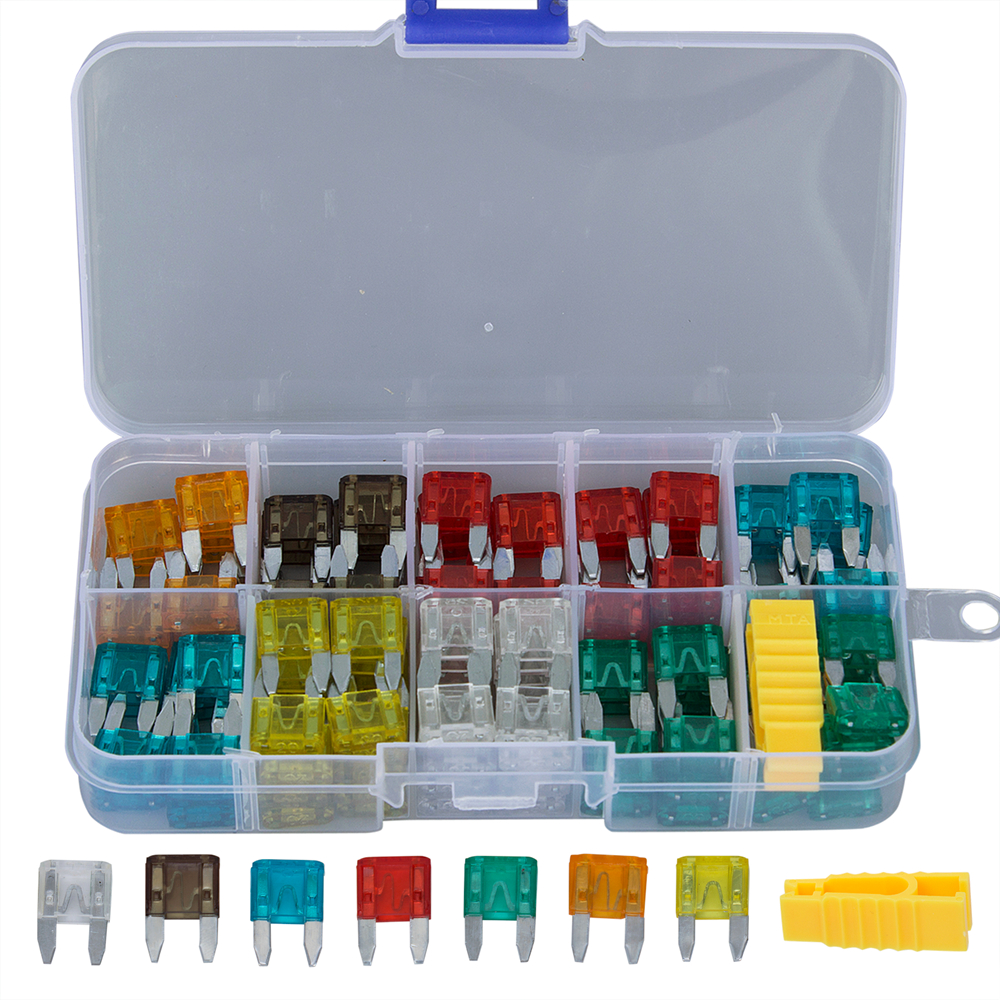 medium resolution of kwokker standard 120 pcs assorted mini auto automotive car boat truck blade car fuse box kit fuse puller 5 7 5 10 15 20 25 30amp in fuses from automobiles
