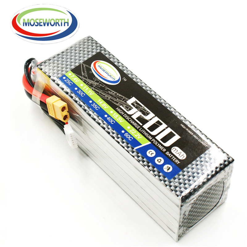 MOSEWORTH RC airplane lipo battery 6s 22.2v 5200mAh 25C For rc helicopter car boat quadcopter Li-Polymer batteria 6s 1s 2s 3s 4s 5s 6s 7s 8s lipo battery balance connector for rc model battery esc
