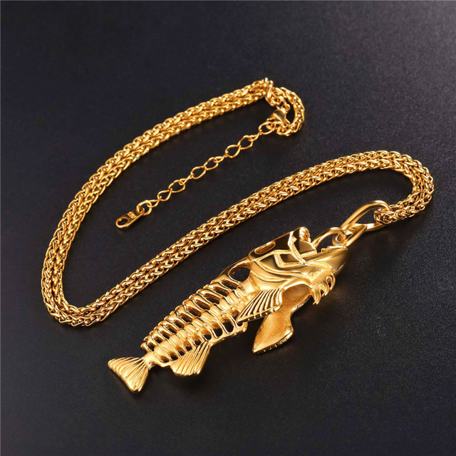Fish Bone Statement Pendant Stainless Steel Necklace