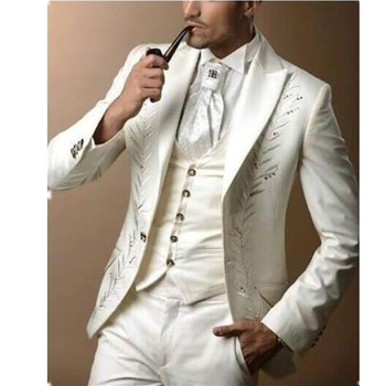 New New Sale Terno Smoking Custom Fashionable Men's Suit Groom's Embroidery Wedding Dress The Best Man (jacket+pants+vest)