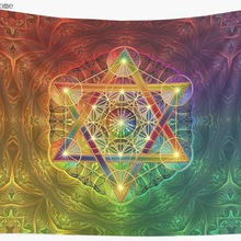 Metatron's Cube with Merkabah and Flower of Life Wall Tapestry Cover Beach Towel Throw Blanket Picnic Yoga Mat Home Decoration