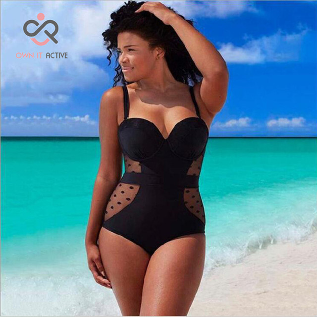 6XL Plus Size Black Swimwear Women Summer High Waist Bathing Suit Hollow  Sexy One Piece Swimsuit