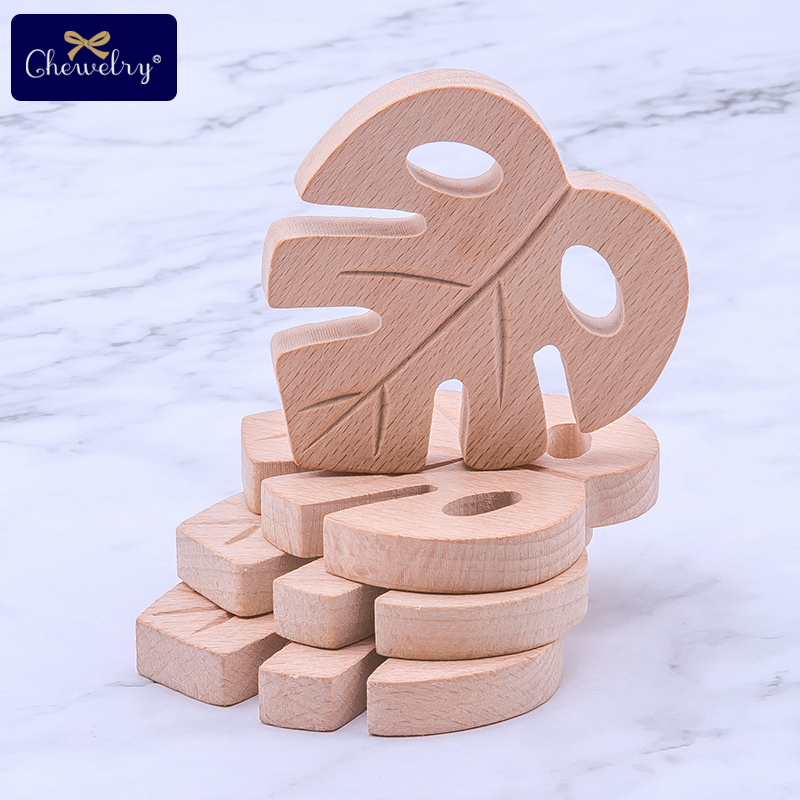 1/2Pc Beech Wooden Teether Turtle Leaves Wooden Decor Toys DIY Pendant Craft Graffiti Wooden Rodent Chew Biter For Kids Goods