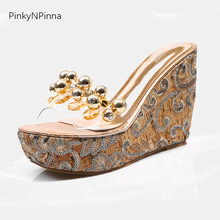 women luxury royal style handmade wedges slippers sheen floral embroidery metallic beads super high heels platform slides 120mm
