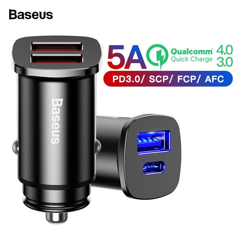 Baseus carga rápida 4,0 USB 3,0 cargador de coche para iPhone Huawei sobrecargar 30 W QC QC4.0 QC3.0 tipo C de la policía coche rápido de carga del cargador