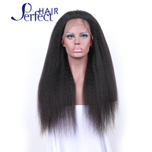 10A Virgin Kinky Straight Lace Wig Brazilian Human Hair Yaki Straight Middle Part Glueless Lace Front Wigs for Black Woman