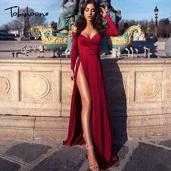 493952801e Tobinoone High Split Vestidos De Fiesta vestido De invierno elegante negro  rojo Maxi Boho vestido largo mujeres fuera del hombro Fiesta vestido Sexy